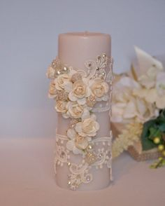 Unity Candle White And Ivory Wedding Pillar by CeremonyDeluxe,