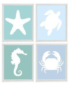 Beach Nautical Art Print - Blue Aqua - Sea Creature Ocean - Wall Art Home Decor Set of 4 Prints (Frames not included)
