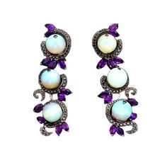 Creeping Vine Earrings 32.22ct solid White Opal spheres set in 18K White Gold with Black Diamonds and Amethyst marquise accents.