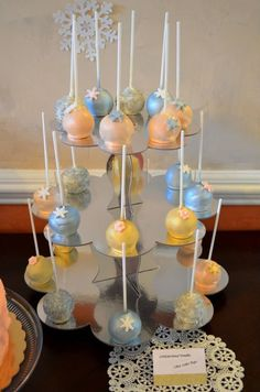 Winter ONEderland Cake Pops Tower