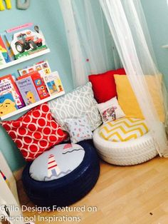 KIDS TYRE SEATING DEB- they don't necessarily need a reading nook, but you do have extra tires in your shed for funky seating!DEB- they don't necessarily need a reading nook, but you do have extra tires in your shed for funky seating! Classroom Setting, Classroom Design, Reading Corner Classroom, Classroom Seats, Book Corner Eyfs, Daycare Room Design, Classroom Flexible Seating, Kindergarten Reading Corner, Childrens Reading Corner