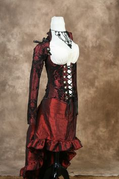 Black and Red Vixen Corset with Long Sleeves and Deep Red Stagecoach Skirt by Damsel in This Dress