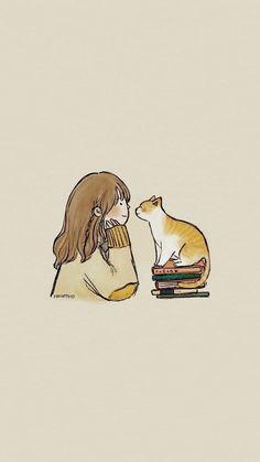 Gravure Illustration, Cute Illustration, Illustration Pictures, Kawaii Wallpaper, Wallpaper Art, Iphone Wallpaper Cat, Cute Cat Wallpaper, Unique Wallpaper, Perfect Wallpaper