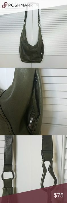 """HOBO large crossbody boho bag Excellent condition!  Such a cool, beautiful bag. The strap can convert to a shoulder or a crossbody length. The olive green is a really true Army olive green color, goes with everything. The interior has no stains and is like new. The outside has a few minor scuffs. 17"""" wide, 11"""" long, 6"""" depth. Has an exterior side pocket for keys or phone.  Interior is huge but has one zipper pocket and 4 others for great organization. HOBO Bags Crossbody Bags"""