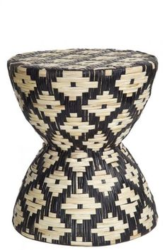 Chevron Rattan Hand Woven Stool/Table