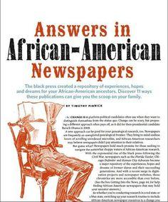 african american newspapers | African-American Genealogy Guide: Using Black Newspapers