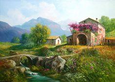 Art Watercolor Sketch, Watercolor Artists, Nature Paintings, Beautiful Paintings, Landscape Art, Landscape Paintings, Farm Pictures, Types Of Art, Artist Art