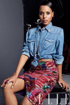 Fab Glance Fashion & Style: MODEL BEHAVIOR: Kerry Washington covers Elle June 2013