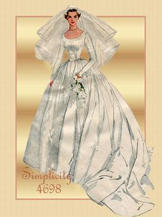 Simplicity 4698 Vintage 1950s Bridal Wedding Gown Pattern with Train -  Also Bridesmaid or Prom Gown Size 16. $60.00, via Etsy.