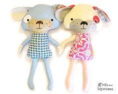 Puppy Dog Sewing Pattern - Dolls And Daydreams - 1 Softies, Plushies, Sewing Stuffed Animals, Stuffed Toys Patterns, Pdf Sewing Patterns, Doll Patterns, Animal Patterns, Dolls And Daydreams, Toy Puppies