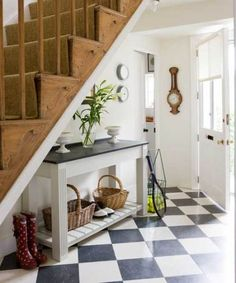 """Can re-create this look using very """"green"""" linoleum tiles on floor with natural sisal on stairs."""