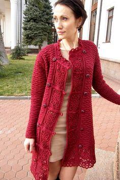 burgundy crochet cardi