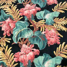 1940s tropical barkcloth fabric.