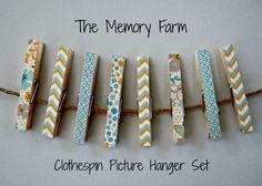 Clothespin Picture Hanger Set Photo Hanger by TheMemoryFarm