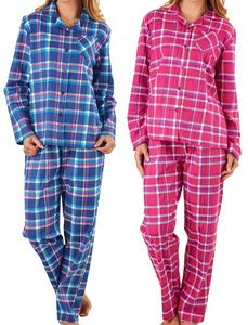 cd640c1c9a Ladies Slenderella 100% Cotton Tartan Pyjamas Set (Navy or Raspberry)