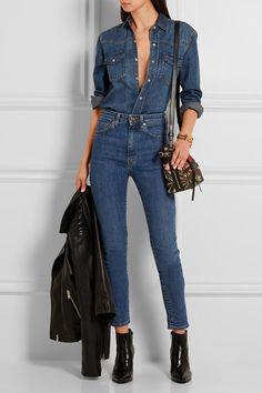 Saint Laurent | Emmanuelle small leather-trimmed jacquard shoulder bag | NET-A-PORTER.COM