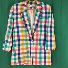 Vintage Chaus Blazer Plaid Multi-Color Size 6 Full Lined Long Sleeve Checks  #Chaus #Blazer