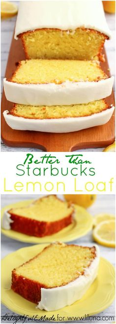 If you like Starbucks Lemon Loaf, then you'll love this moist, delicious Lemon cake! This easy to make recipe, is loaded with delicious lemon flavor, and topped with an amazing lemon frosting. Im obsessed with starbucks lemon cake Lemon Desserts, Lemon Recipes, Just Desserts, Sweet Recipes, Baking Recipes, Dessert Recipes, Loaf Recipes, Krusteaz Recipes, Drink Recipes