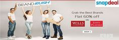 Snapdeal  BrandRush Grab the Best Brands  Flat 60% off On Wills Lifestyle John Players Goosedeals is leading destination for cashback coupons and best deals. Goosedeals offering some of the best deals and best products at very affordable prices, also our   website is providing products with lowest prices. Grab best deals and cashback coupons More Details visit: http://www.goosedeals.com/stores/listing/snapdeal/13.html