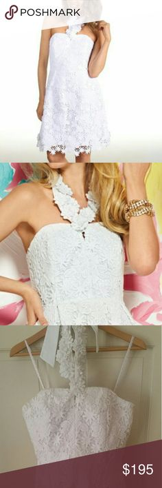 """Lilly Pulitzer Kailene Dress White. Strapless Dress With Full Skirt And Removable Lace Flower Neckpiece. 21"""" From Natural Waist To Hem. Truly Floral Lace (100% Cotton). Dry Clean. Lilly Pulitzer Dresses Strapless"""