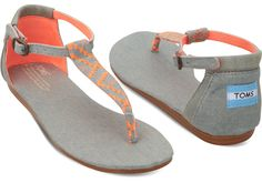 Perfect pop of color for the boardwalk- TOMS Neon Denim Women's Playa Sandals