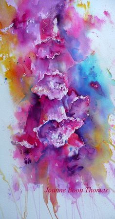 Foxglove Brusho style Joanne Boon Thomas www.artbyboon.co.uk