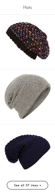 """""""Hats"""" by nerdylilrabbit ❤ liked on Polyvore featuring accessories, hats, beanies, rainbow hat, beret hat, slouch hat, slouchy knit hat, knit hat, grey and slouchy beanie hats"""