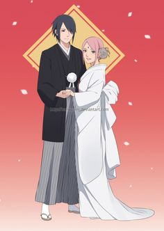 SasuSaku wedding! The illustration i made for a fanmade acrylic standee. Apparently the customer service on the printing center thought if this is a wedding souvenir xD //boi i wish// *sorry folks, i'm supporting the canon :) but dw i also ship...