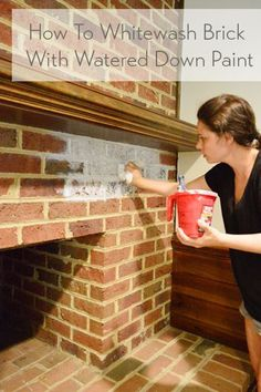 How To Whitewash A Brick Wall Or Fireplace Use leftover paint using this DIY whitewash brick technique (how-to video included!) to update a dark or dated brick wall or fireplace. Fireplace Update, Brick Fireplace Makeover, Fireplace Whitewash, How To Whitewash Brick, Brick Fireplace Decor, Whitewashed Brick, Painted Brick Fireplaces, Fireplace Kitchen, Limestone Fireplace
