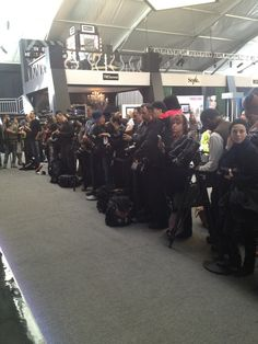 All these #photographers are waiting for #KarlieKloss at the tents. Life of a #Supermodel, at  #NYFW...