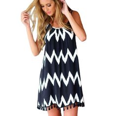 CANHOT Women Casual Geometric Printed Beach Tassel Spaghetti Strap Short Dress  Dresses Black Short Beach Dresses 4cdd25f7b