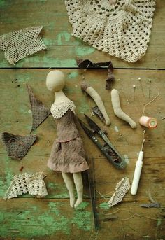 Fabric doll in the making...by Willowynn textile art