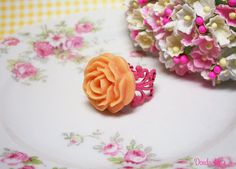 Just Peachy adjustable pink and peach rose ring, fun bridal shower gift.