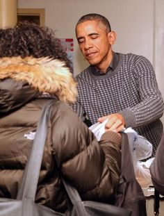 President Obama volunteering for the Thanksgiving holidays. People helping people.