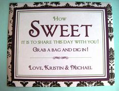 8x10 Custom Printed Flat Candy Buffet or Cookie Buffet Wedding or Party Signs - Any Colors, Style Message. $8.50, via Etsy.