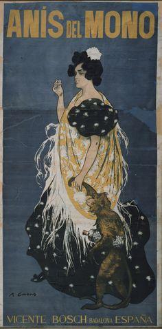 Anís del Mono (Mono y mona). Colour lithograph on paper, 220.5 x 110 cm, 1898. Artist: Ramon Casas