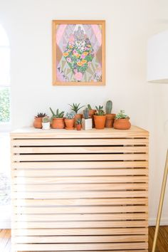 To cover up the radiator Dana and Sadie made this amazing overlay piece that doubles as a shelf. Above the succulents is a RCF tour poster screen print by Mat Daly that Sadie picked up at the Renegade Craft Fair, her favorite of craft fairs.