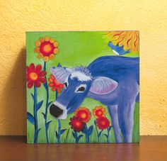 Purple Cow print mounted on wood 6 x 6 by HappyAbbyDesigns on Etsy, $16.00
