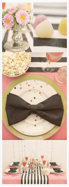 Kate spade inspired wedding (and obsessed with the napkins folded in a bow!)