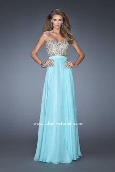 La Femme 19294- long prom dress- strapless prom dress- sweetheart neckline prom dress- chiffon prom dress- blue prom dress-pastel color prom dress- sequin and beaded bodice evening gown- sequin- beads-