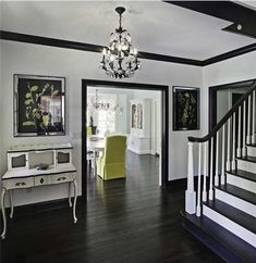 Adding Trim Above Looks Good White Walls Stairs Black Hardwood Floors