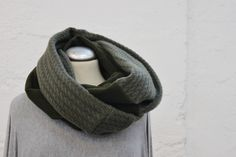 GREEN Handmade Wool LOOP, Double Face Wool Unisex Loop, Olive Green/Green Unisex Scarf/Loop by Annas7Closet on Etsy