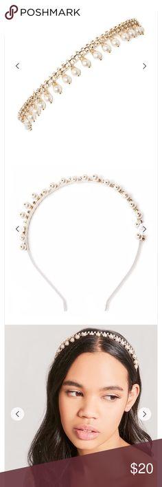 SALE‼️ Rhinestone Pearl Satin Ribbon Headband SALE‼️ Rhinestone Pearl Satin Ribbon Headband Accessories Hair Accessories