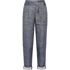 Maje Belted linen-blend chambray tapered pants (3.395.300 IDR) ❤ liked on Polyvore featuring pants, blue, highwaisted pants, cuffed pants, high waisted pants, highwaist pants and cuff pants
