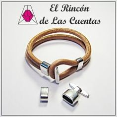 Set cierre gancho y pasador color plata para cordón de 5mm