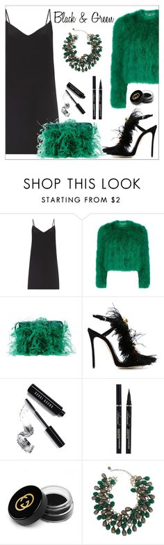 """""""Black & Green"""" by amchavesj-1 ❤ liked on Polyvore featuring Raey, Alexander McQueen, Dsquared2, Bobbi Brown Cosmetics, Gucci and LBD"""