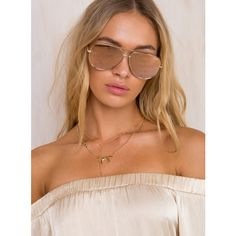 Quay Australia Quay x Desi High Key Sunglasses Gold (645 ZAR) ❤ liked on Polyvore featuring accessories, eyewear, sunglasses, gold, rose tinted glasses, gold lens sunglasses, metal-frame sunglasses, quay sunglasses and gold aviators