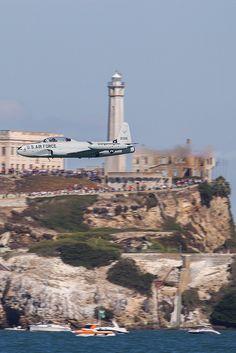 Lovely T-33 flies-by in Alcatraz view.