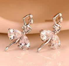2014 New Korean jewelry Luxury zircon ballet dancing girl stud earring. Rose Gold Earrings, Stud Earrings, Fashion Necklace, Fashion Jewelry, Korean Jewelry, Girl Dancing, Rose Gold Color, Very Lovely, Collar Necklace