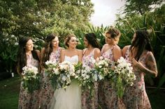 Pink floral bridesmaid dresses